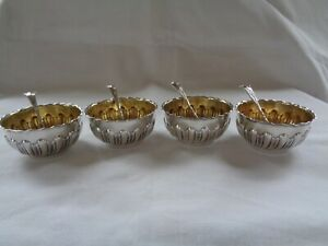 Antique Henry Atkin Sterling Silver Open Salt Cellar Dips Spoons X4 Gold Wash