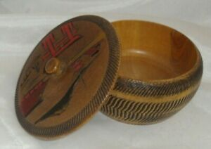 Vintage Hand Carved Hand Painted Wood Bowl With Lid Made In Japan Hand Turned