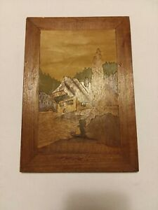Antique Inlaid Wood Marquetry Wall Hanging Panel Plaque Landscape Scene