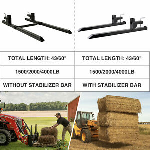 43 60 1500lbs 2000lbs 4000lbs Pallet Forks Clamp on For Loader Bucket Tractor