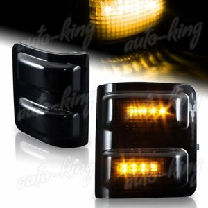 Fit Ford F250 F350 Superduty Smoke Lens Side Mirror Amber Led Turn Signal Lights