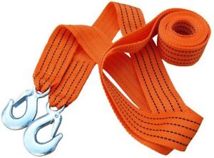 4m 3 Tons Car Tow Cable Towing Strap Rope With Hooks Emergency Heavy Duty