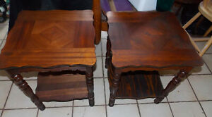 Pair Of Mahogany Inlaid End Tables Side Tables T934