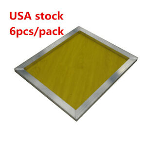 6 Pcs 18 X 20 aluminum Screen Printing Screens With 200 Yellow Mesh Count us