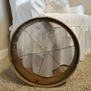 Antique Primitive Round Wooden Grain Sifter Sieve Barn Tool