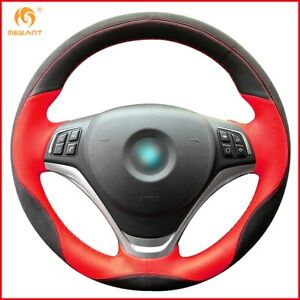 Black Red Leather Black Suede Car Steering Wheel Cover For Bmw X1 2014 2015 A101