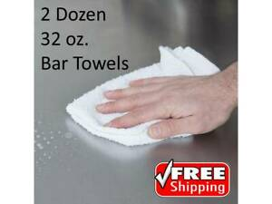 24 Pack 16 X 19 32 Oz Solid White 100 Cotton Ribbed Terry Bar Towels