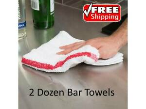24 Pack 16 X 19 32 Oz Red Striped 100 Cotton Bar Towels