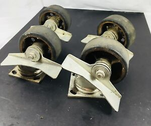 4 Vintage Industrial Cart Plate Caster Wheels Faultless Iron 1400 5 5 X 2