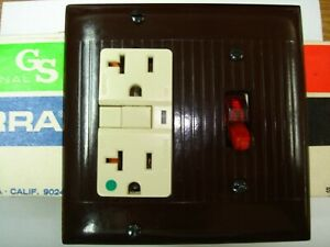 Vintage Uniline Brown Decora Gfci Switch Outlet Wall Cover Plate 2 Gang Sierra