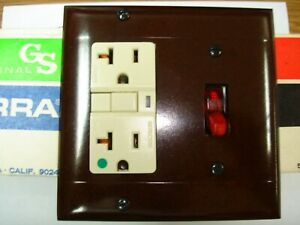 Vintage Smooth Brown Decora Gfci Switch Outlet Wall Cover Plate 2 Gang Sierra