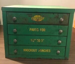 Vtg Greenlee Knockout Punch Parts Hardware Store 4 Drawer Metal Counter Cabinet