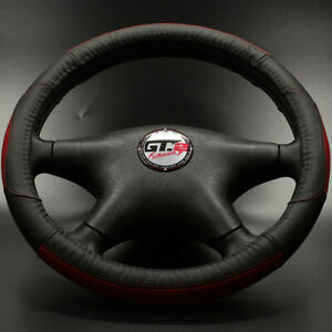 Genuine Leather Steering Wheel Covers Black Red Fits Car Truck Suv Pickups 38cm