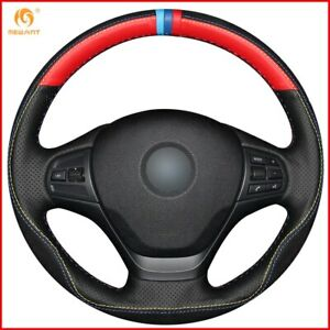 Black Red Leather Black Suede Steering Wheel Cover For Bmw F30 316i 320i A117