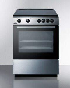 Summit Clre24 24 Freestanding Electric Range Smooth Top Stainless Steel