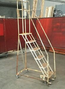 Cotterman 6 Step Rolling Warehouse Ladder 102 h 18 w 10 Step Height Lot 1