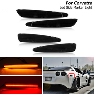 4x Smoked Led Front Rear Side Marker Lights For Chevy Corvette C6 2005 2013