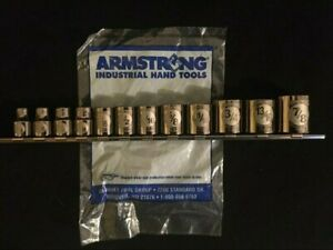 Armstrong Tools 3 8 Drive 6 Point Sae imperial Sockets On Rail Usa