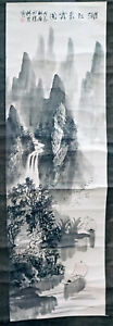Chinese Antique Scroll Painting Of Boats On River Mountains Etc Signed