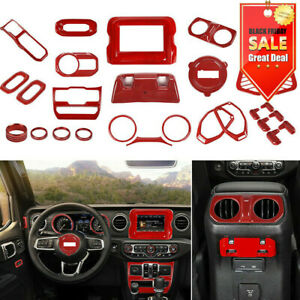 29pcs Full Interior Accessories Cover Trim Kit Red For 2018 Jeep Wrangler Jl