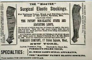 1896 Pomeroy Surgical Elastic Stockings Antique Medical Device Vintage Print Ad