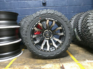 20x10 Fuel D674 Blitz Black Wheels Rims 33 Mt Tires 6x5 5 Chevy Suburban Tahoe