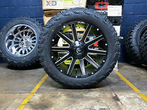 20x9 D616 Fuel Contra Black Wheels Rims 32 At Tires Package 5x150 Toyota Tundra