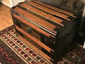 Antique Dome Top Steamer Chest Trunk Late 1800 S Or Early 1900 S