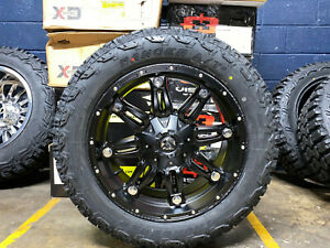 20x9 Fuel Hostage Black Wheels 32 At Tires Package 6x5 5 Chevy Silverado 1500