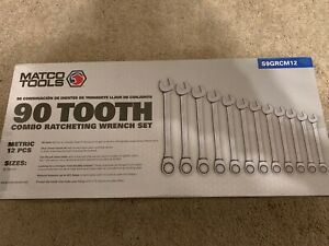 New Matco 12 Piece 90 Tooth Metric Combination Ratcheting Wrench Set S9grcm12