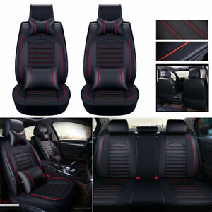 Deluxe Car Seat Cover Universal Full Set Pu Leather Protector Headrests pillows