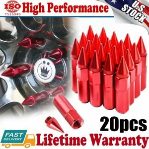 20pcs Red Spike Lug Nuts 12x1 5 Cap Extended Tuner Aluminum Racing Wheels Rims