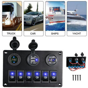 6 Gang Blue On Off Led Rocker Switch Panel Car Marine Boat Circuit Dual Usb Hot