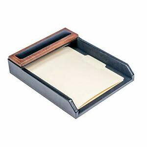 Dacasso Walnut And Leather Letter Tray