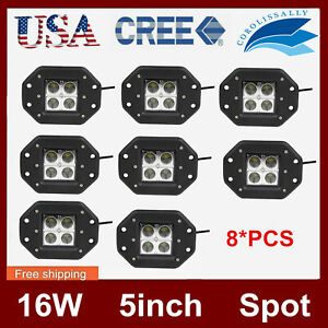 8x 5inch 16w Cube Led Work Light Offroad Driving Pods Warning Lamp Flush Mount