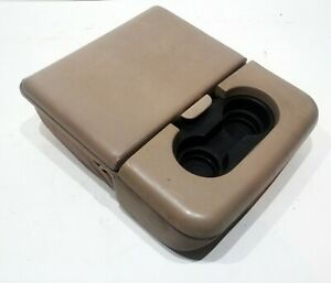 99 09 Ford F250 F350 Super Duty Leather Cloth Jump Seat Center Console Tan Oem