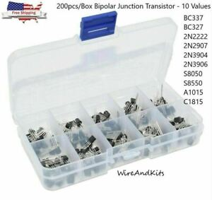 200pcs box Bipolar Junction Transistor Bjt Npn Pnp Assortment Kit 10 Value Pack