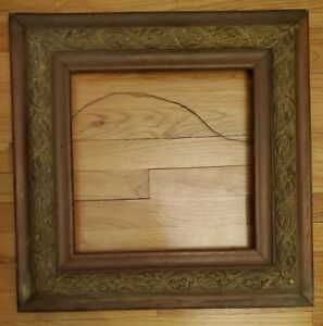 Antique Heavy Wood Rustic Carved Picture Frame Dark Brown Square 21 5 X 21 5