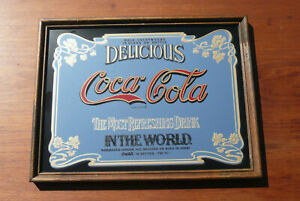 Vintage Coca-Cola Advertising Mirror Sign Pub Store