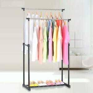 Portable Rolling Clothes Rack Hanger Shelf Garment Bar Adjustable Single Bar