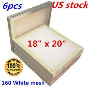 6 Pack 18 X 20 aluminum Screen Printing Screens With 160 White Mesh Count Us