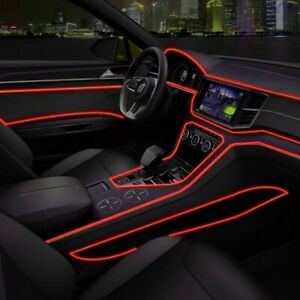 Red 2m Led Car Auto Interior Decorative Atmosphere Wire Strip Light Lamp Access