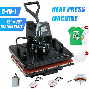 5 In1 Heat Press Machine 360 swing Away T shirt Printing Press 12x15 Cap Hat Mug