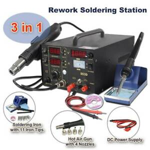 3 In 1 853d Smd Dc Power Supply Hot Air Iron Gun Rework Soldering Station New