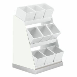 Cal Mil Condiment Holder 9 bin Luxe White silver 29642