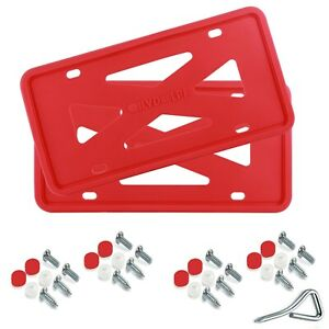 Two Red Silicone License Plate Frame Holder With Installation Screws Caps Pair