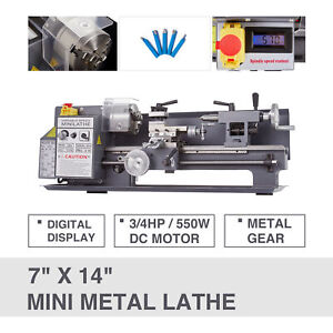 7 X 14 Automatic Mini Metal Lathe Metalworking 550w Metal Gear Digital Display