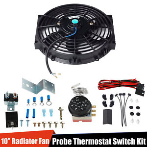 Slim Push Pull10 Electric Radiator Cooling Fan 80w 12v W thermostat Switch Kit