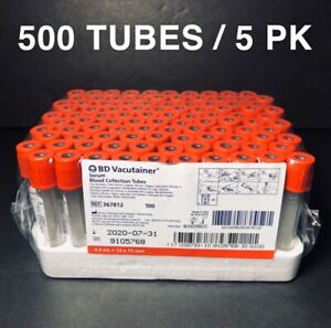 Bd 367812 Vacutainer Collection Tubes Red Top 4 0ml 5 Packs Of 100 Exp 07 2020