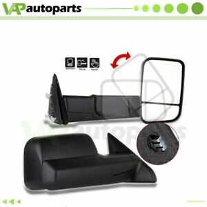 Black Manual Towing Mirrors Pair For 2009 2015 Dodge Ram Truck Pickup Side View